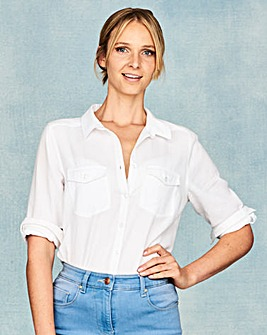 Linen Mix Shirt With Roll Up Sleeves