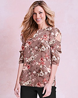 Plum Floral Frill Cold Shoulder Blouse