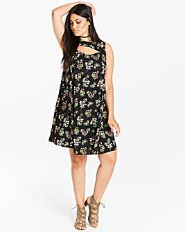 Black Floral Print Swing Dress