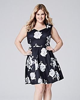 Black/IvoryScuba Sweetheart Skater Dress