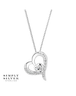 Simply Silver pave heart necklace