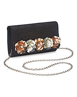 Flower Embellished Clutch Bag