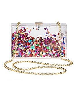 Perspex Sequin Box Clutch Bag