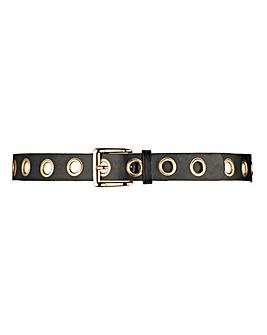 Black and Gold Eyelet Jeans Belt