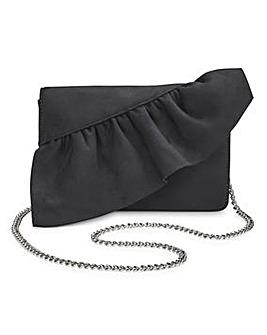Scarlet Black Ruffle Clutch Bag