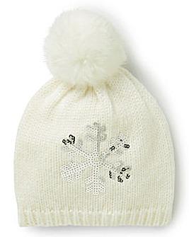 Snowflake Pom Pom Hat