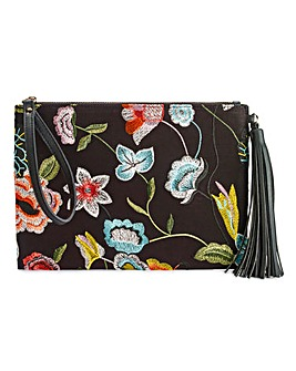 Floral Embroidered Clutch Bag