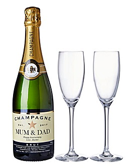 Personalised Champagne & Flutes