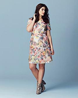 Floral Print Textured Skater Dress
