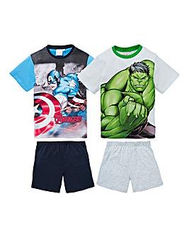 Avengers Boys Pack of Two Pyjama Shorts