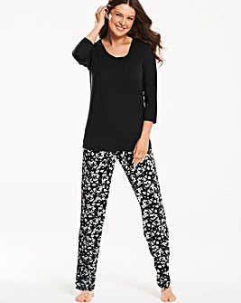 Pretty Secrets Black Floral Pyjama Set