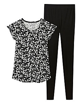 Pretty Secrets Black Floral Legging Set