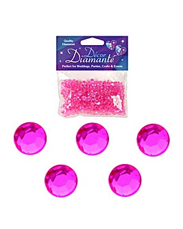 Decor Diamonte Diamonds Hot Pink x 6