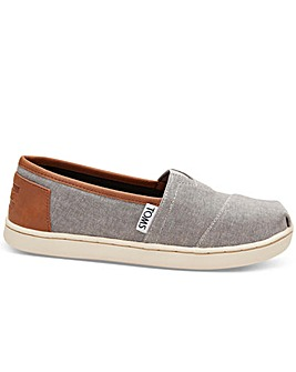 TOMS Classic Youth Grey Chambray Shoes