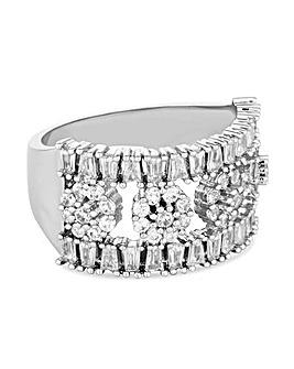 Jon Richard Crystal Flower Bar Ring