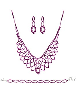 Mood Pink Diamante Crystal Jewellery Set