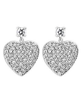 Jon Richard Pave Heart Drop Earring