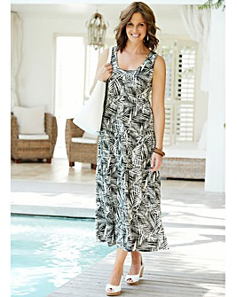 Palm Print Tiered Jersey Dress 48in
