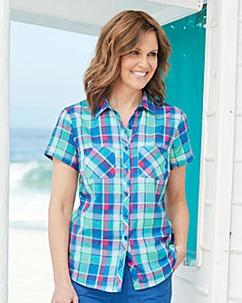 Short Sleeve Check Shirt with Pockets