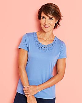 Crochet Trim Jersey T Shirt