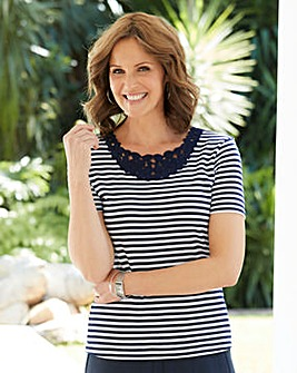 Stripe Crochet Trim Jersey T Shirt