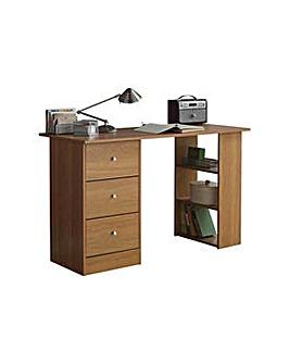 HOME New Malibu 3 Drawer Desk - Oak.
