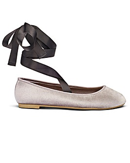 Sole Diva Ribbon Tie Ballerina EEE Fit