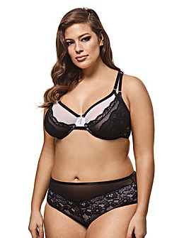 Ashley Graham Criss Cross Mesh/Lace Bra