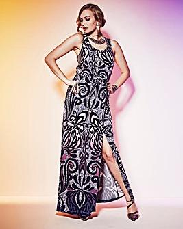 Grazia Border Print Maxi Dress