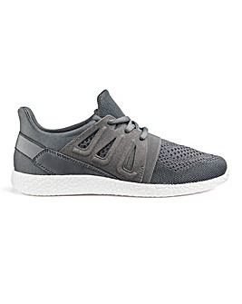Grey Knit Lace Up Trainers