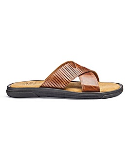 Leather Cross Strap Sandal Standard Fit