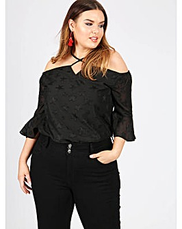 Koko Star Bardot Top With Ruffle Sleeve