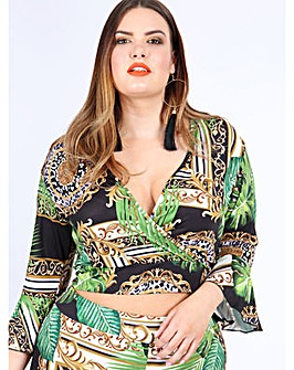 Koko Baroque Print Wrap Crop Top