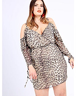 Koko leopard print wrap dress