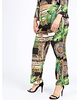 Koko Baroque Print Wide Leg Trousers