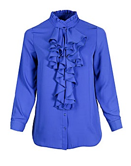 Lovedrobe GB Royal Blue Frill Blouse