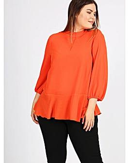Lovedrobe GB Orange Peplum Blouse