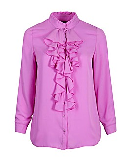 Lovedrobe GB Purple Frill Front Blouse