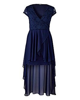 Quiz Curve Lace Wrap Dipped Back Dress