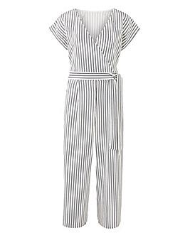 Quiz Curve Stripe Wrap Culotte Jumpsuit