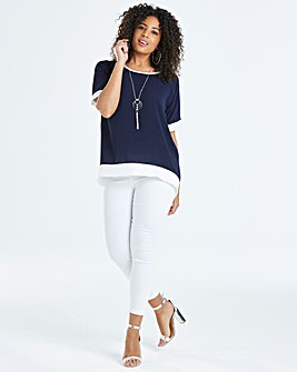 Quiz Curve Colour Block Dip Back Hem Tee