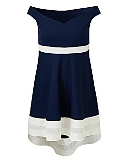 Quiz Curve Colour Block Bardot Dress