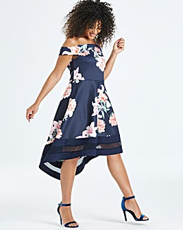 Quiz Curve Floral Bardot Dip Back Dress