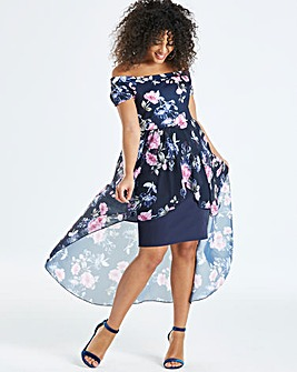 Quiz Curve Floral Bardot Wrap Dress