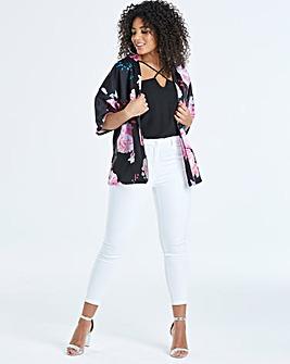 Quiz Curve Floral Print Kimono Jacket