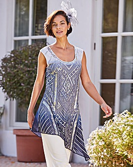 Joanna Hope Ombre Sequin Tunic