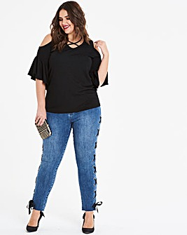 Ruffle Sleeve Cross Front Top