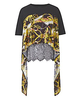 Layered Lace Wrap Woven Tee