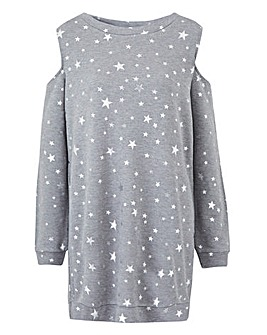 Star Print Cold Shoulder Sweatshirt