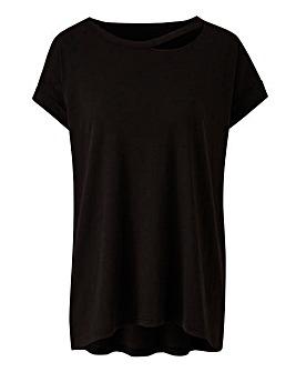 Black Cut Out Neck T-shirt